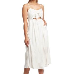 BARDOT crisp white Ibiza midi sleeveless sundress
